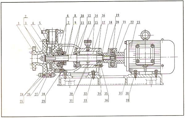 fs型玻璃钢离心泵的结构示意图
